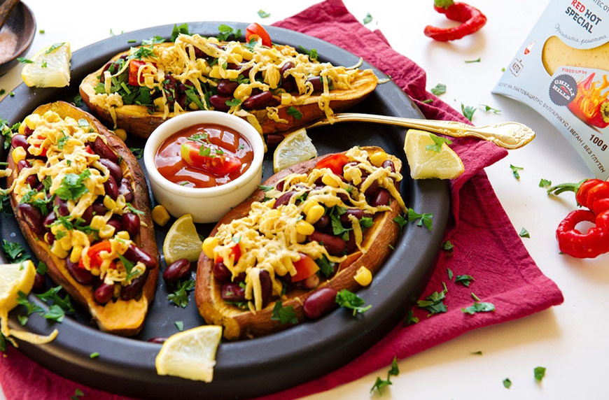 Пълнени сладки картофи по мексикански